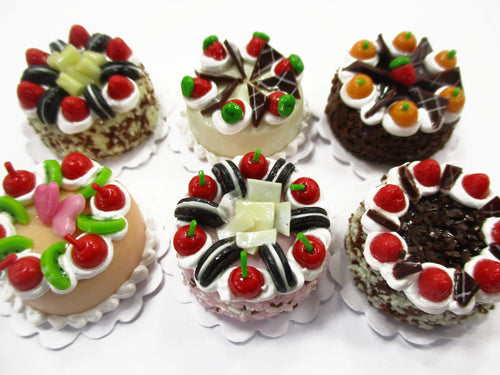 Dollhouse Miniatures Food 2 cm 6 Assorted Color Fruit Cake Bakery Supply 15773