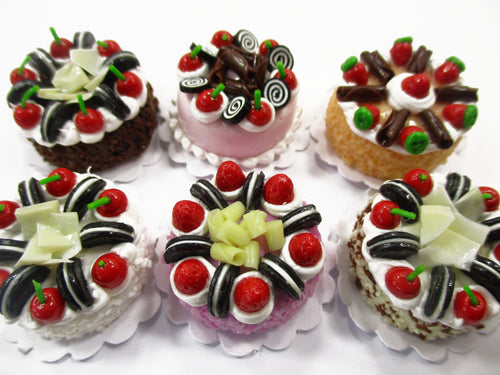 Dollhouse Miniatures Food 2 cm 6 Mixed Color Fruit Cake Doll Food Bakery 15774