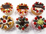 Dollhouse Miniatures Food 2 cm 6 Mixed Color Fruit Cake Doll Food Bakery 15777