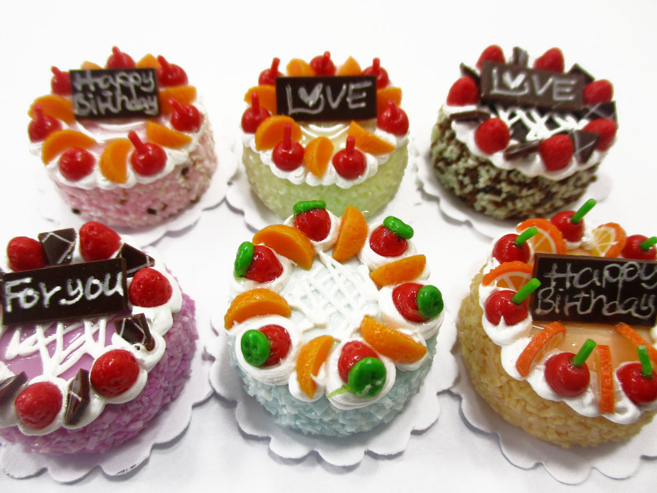 Dollhouse Miniatures Food 2 cm 6 Assorted Color Fruit Cake Bakery Supply 15778