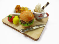 Dollhouse Miniature Food Hamburger Fast Food On Board Set Dolls Supply 15826