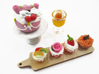 Dollhouse Miniature Food Tiny Cake On Ceramic Stand Cup Cake Bakery Set 15830