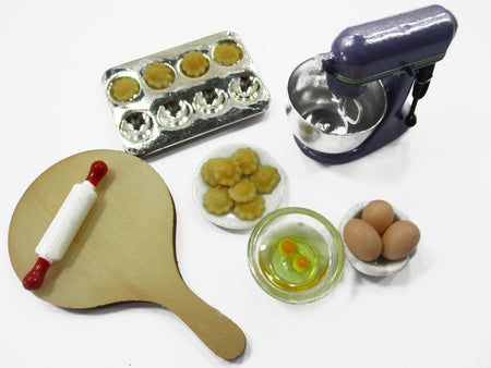 Dollhouse Miniature Bakery Cookie Preparation Kitchen Mixer Accessories 15837
