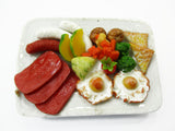 Dollhouse Miniatures Food Breakfast Mixed Ham Sausage Plate 1:6 Supply 15848