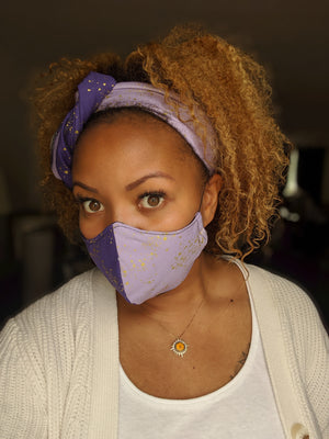 MBL Headwrap & Mask Set- Ombre Purple