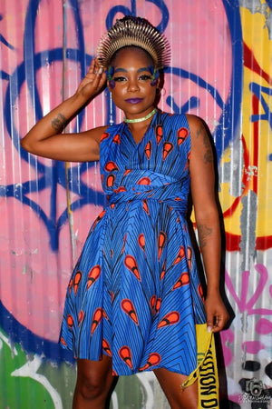 Blue Ankara Infinity Dress
