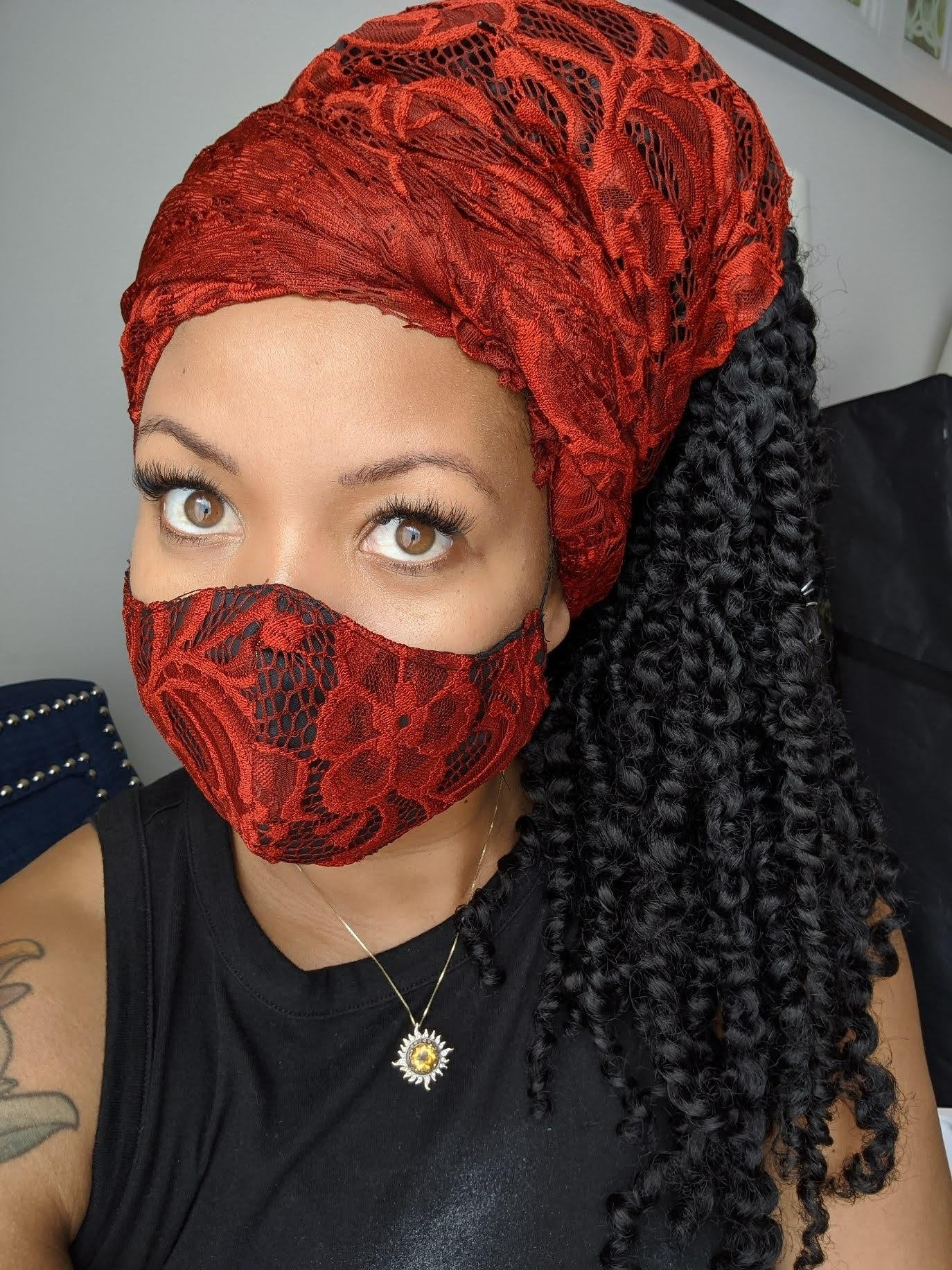 MBL Headwrap & Mask Set- Red Velvet