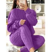 Cable Knit Sweater Set - Purple