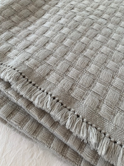 Basket-E Silver Birch King Blanket w/ Fringe