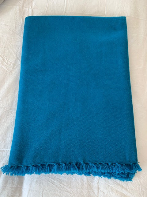 Methyl Blue Throw w/ Fringe
