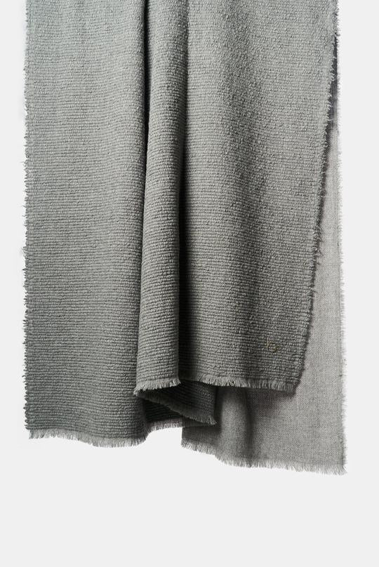 Kalin Woven Wool/Silk/Cashmere Throw in Slate Grey