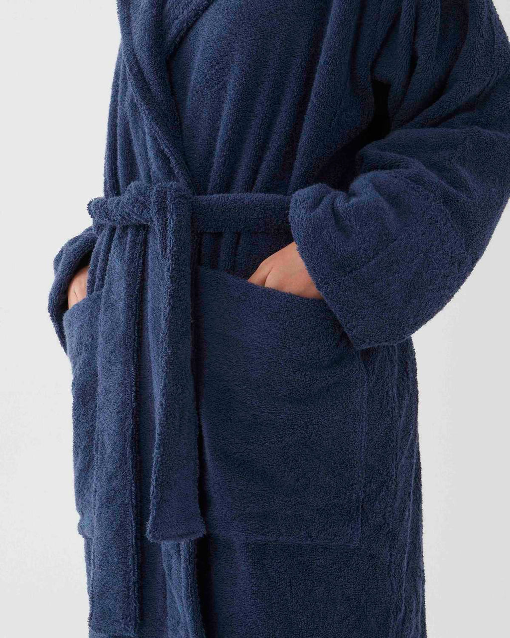Hooded Bathrobe - Navy