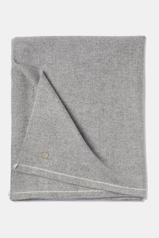 Sabra Classic Woven Contrast Border Cashmere Throw Soft Grey