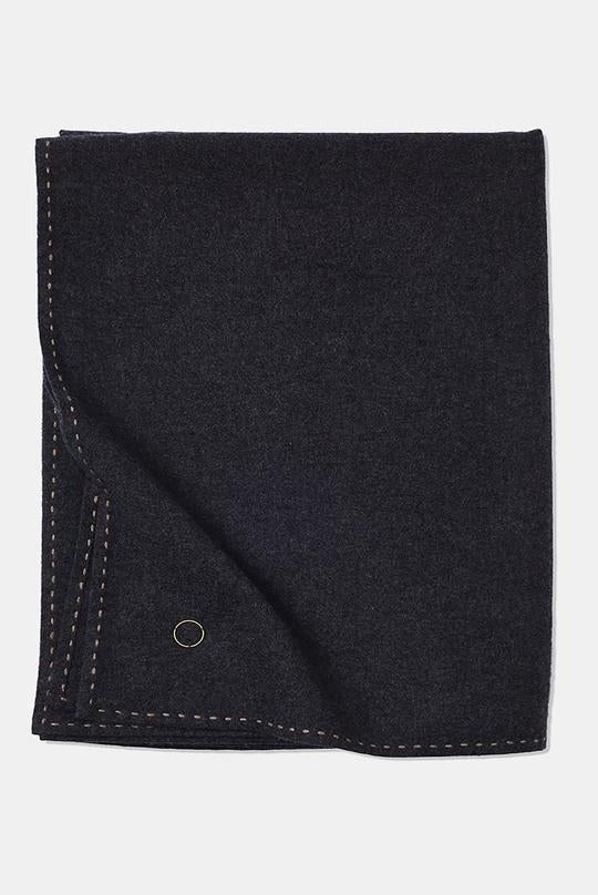 Suo Hand-Stitched Woven Cashmere Throw Charcoal / Taupe