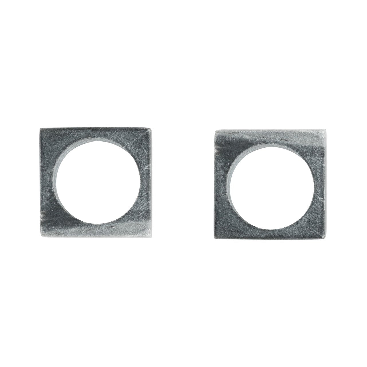 Gray Marble Modernist Napkin Rings (Set of 2)