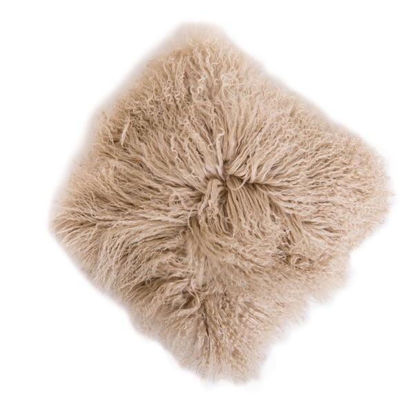 Fuzzy Beige Square Pillow - Sugarboo and Co