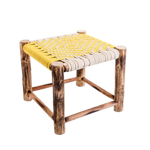 small wooden woven stool