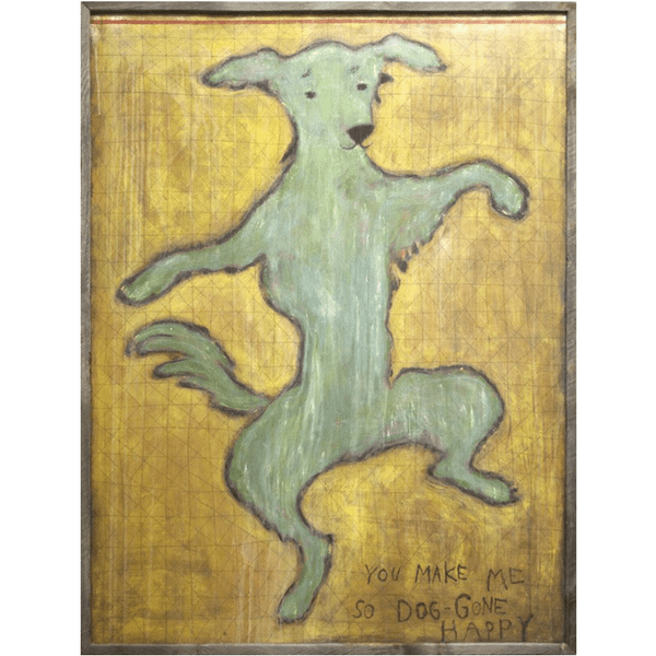 Dancing Dog Art Print - Sugarboo and Co - Grey Wood Frame