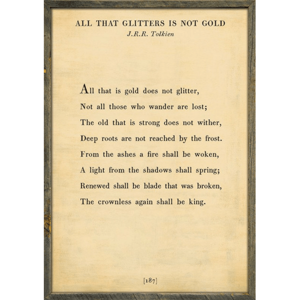 All that Glitters - J.R.R. Tolkien Book Collection Print - Sugarboo and Co - Cream - Grey Wood Frame
