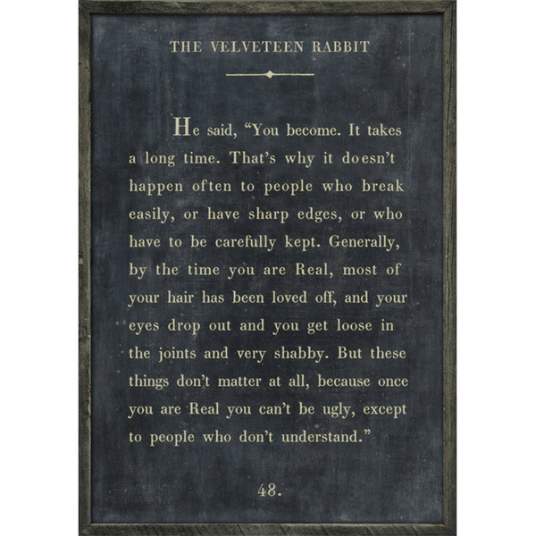 The Velveteen Rabbit Book Collection - Sugarboo and Co - Charcoal - Grey Wood Frame