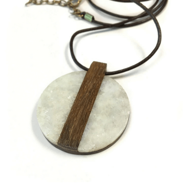 Round Marble and Wood Pendant Necklace - Sugarboo and Co