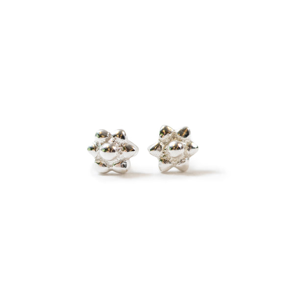 Small Silver Flower Shaped Stud Earrings