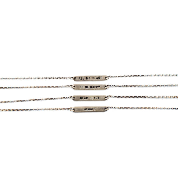 Reversible Sterling Silver Vintage Chain Quote Bracelet