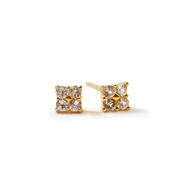 Gold Plated Earrings with White Topaz