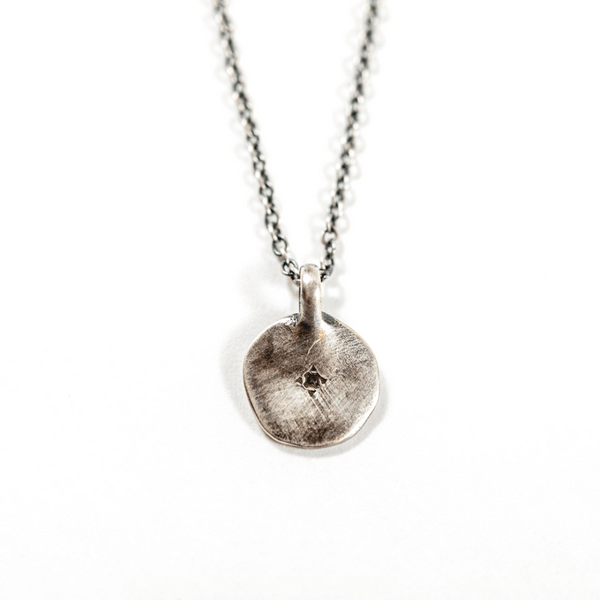 Sterling Silver Round Pendant Necklace with White Topaz - Sugarboo and Co