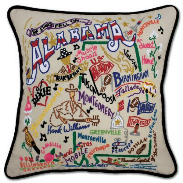 Hand-Embroidered Pillow - Alabama - Sugarboo and Co