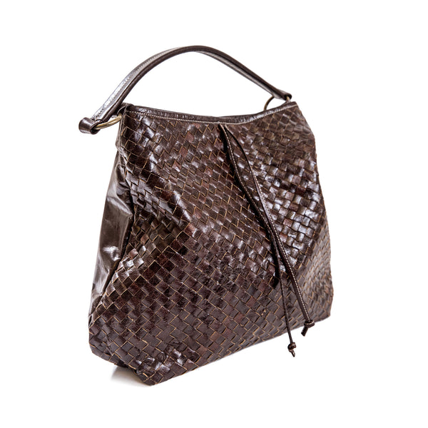Brown Woven Leather Hobo Bag
