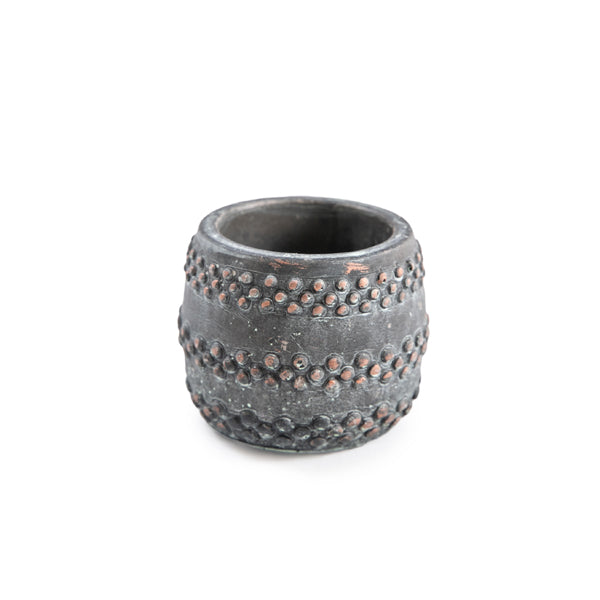 Rustic Studded Cement Pot