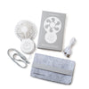 Put Good Things Into the World USB fan with cable, lanyard, and felt case