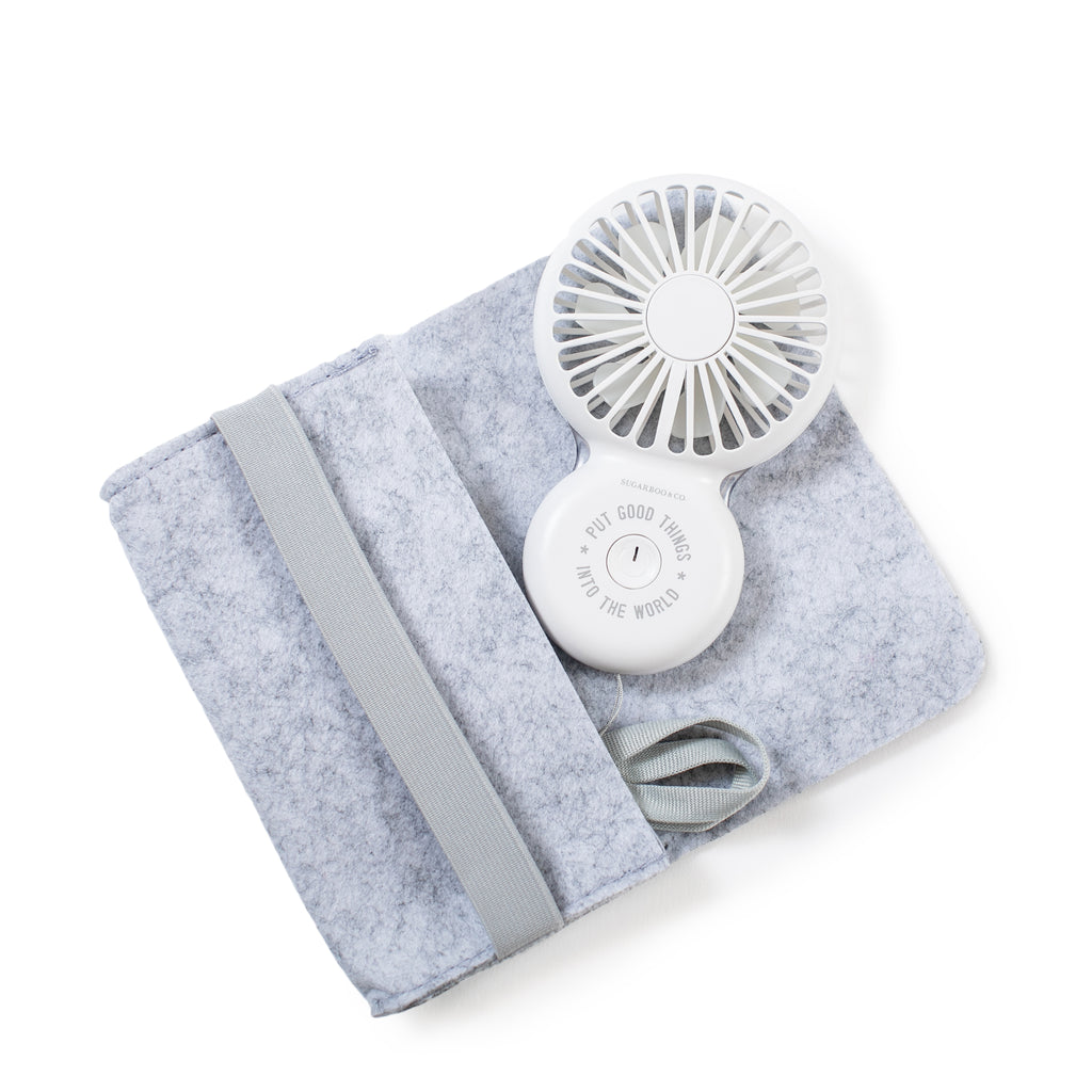 Put Good Things Into The World hand held USB fan with felt case