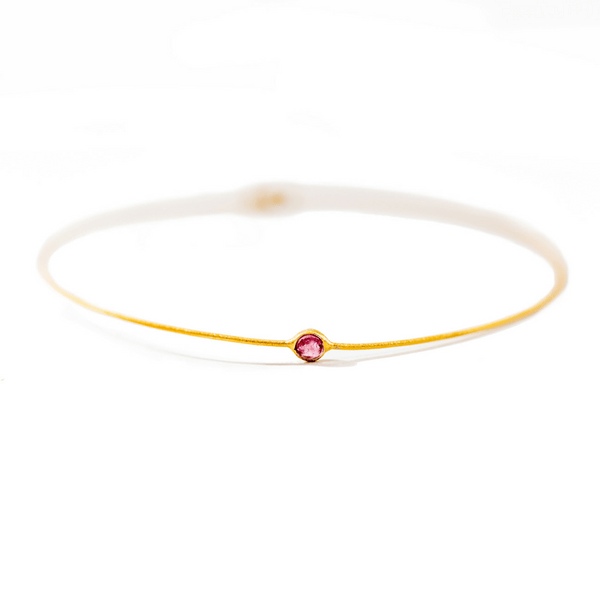 22k Gold Plated Sterling Silver Bangle with Small Tourmaline - Sugarboo and Co