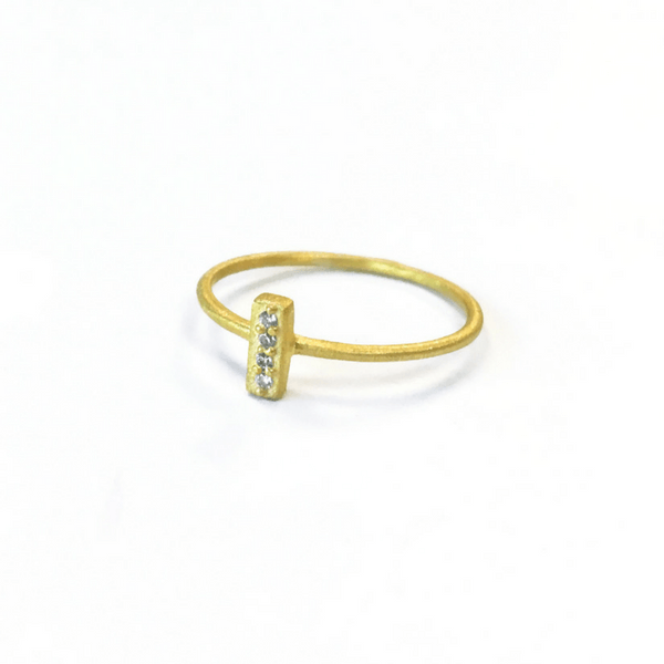 White Zircon Bar Ring - Sugarboo and co