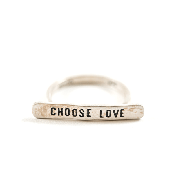 Sterling Silver Bar Ring - Choose Love - Sugarboo and Co