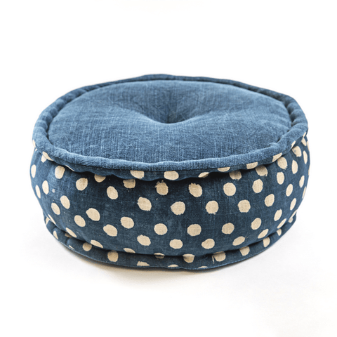 Polka Dot Cotton Pouf with Handle - Sugarboo and Co