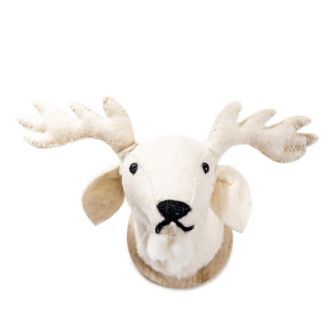 White Felt Reindeer Trophy Head - Sugarboo and Co