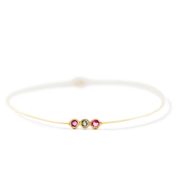 22k Gold Plated Sterling Silver Bangle with Tourmaline Trio - Sugarboo and CO