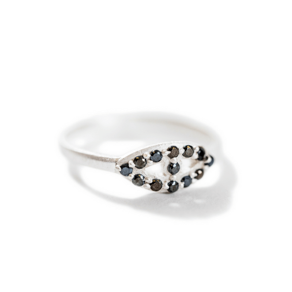 Sterling Silver Ring with Black Zircon Stones - Sugarboo and Co