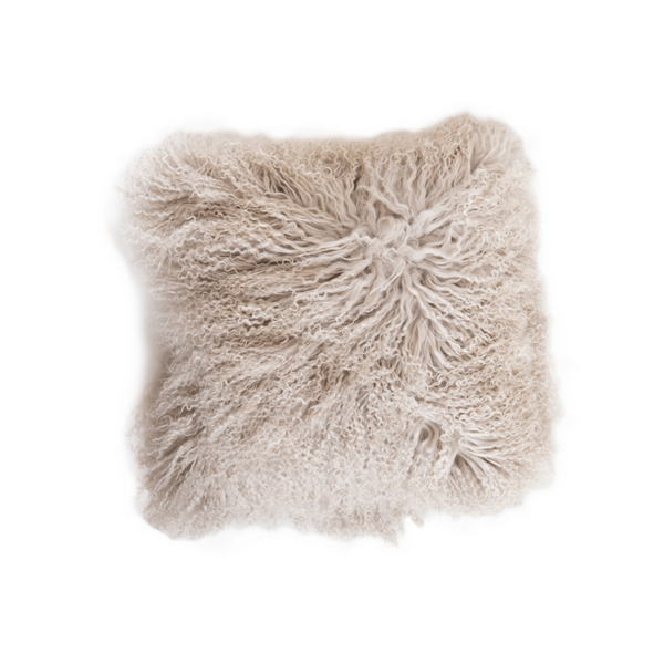 Fuzzy Pale Grey Square Pillow - Sugarboo and Co