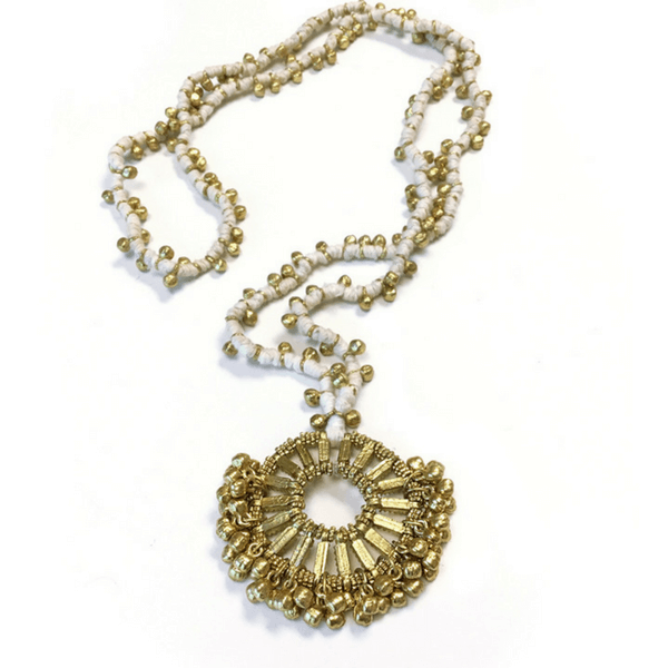 Gold and White Woven Pendant Necklace - Sugarboo and co
