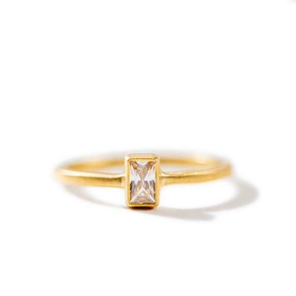 Gold Plated Ring with White Cubic Zirconia (Two Sizes) - Sugarboo and Co