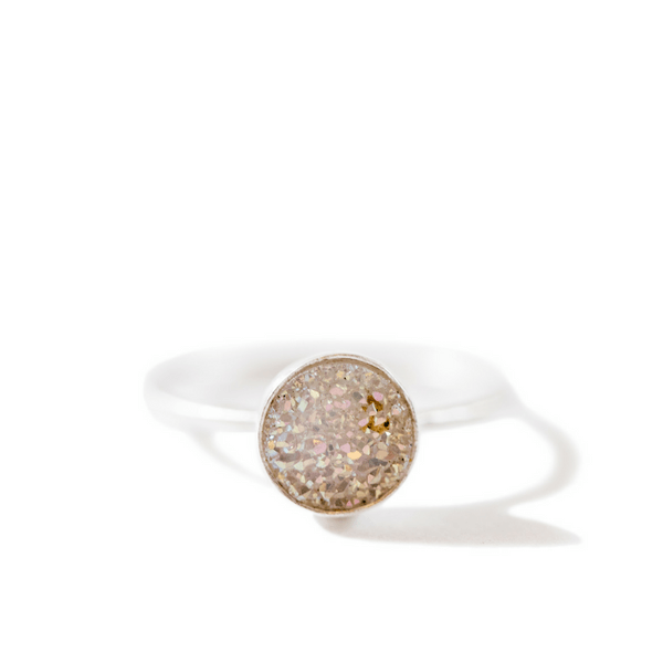 Round White Druzy Silver Ring (Two Sizes) - Sugarboo and Co