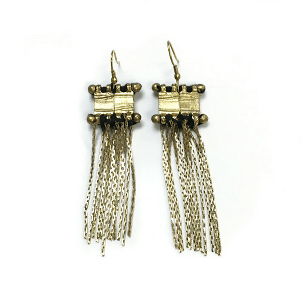 Gold Dangle Fringe Earrings - Sugarboo and Co