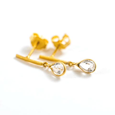 Gold Plated Silver Crystal Drop Earrings - Sugarboo and CO