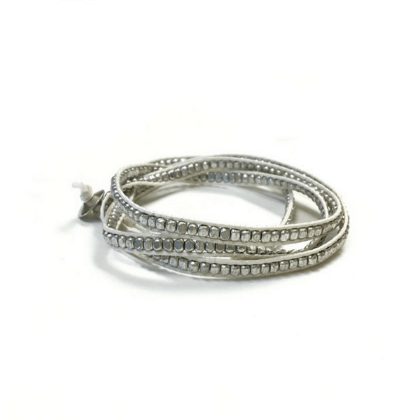 Beaded Wrap Bracelet - Silver Beads - Sugarboo and Co