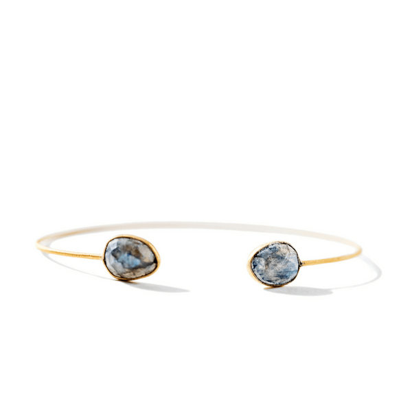 22k Gold Plated Sterling Silver Cuff with Labradorite - Sugarboo and Co