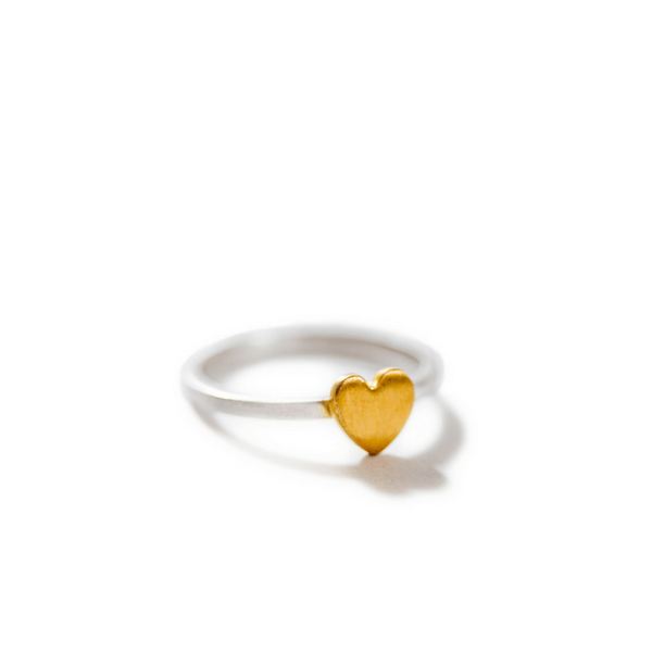 Silver Ring with Gold Heart - Sugarboo and Co